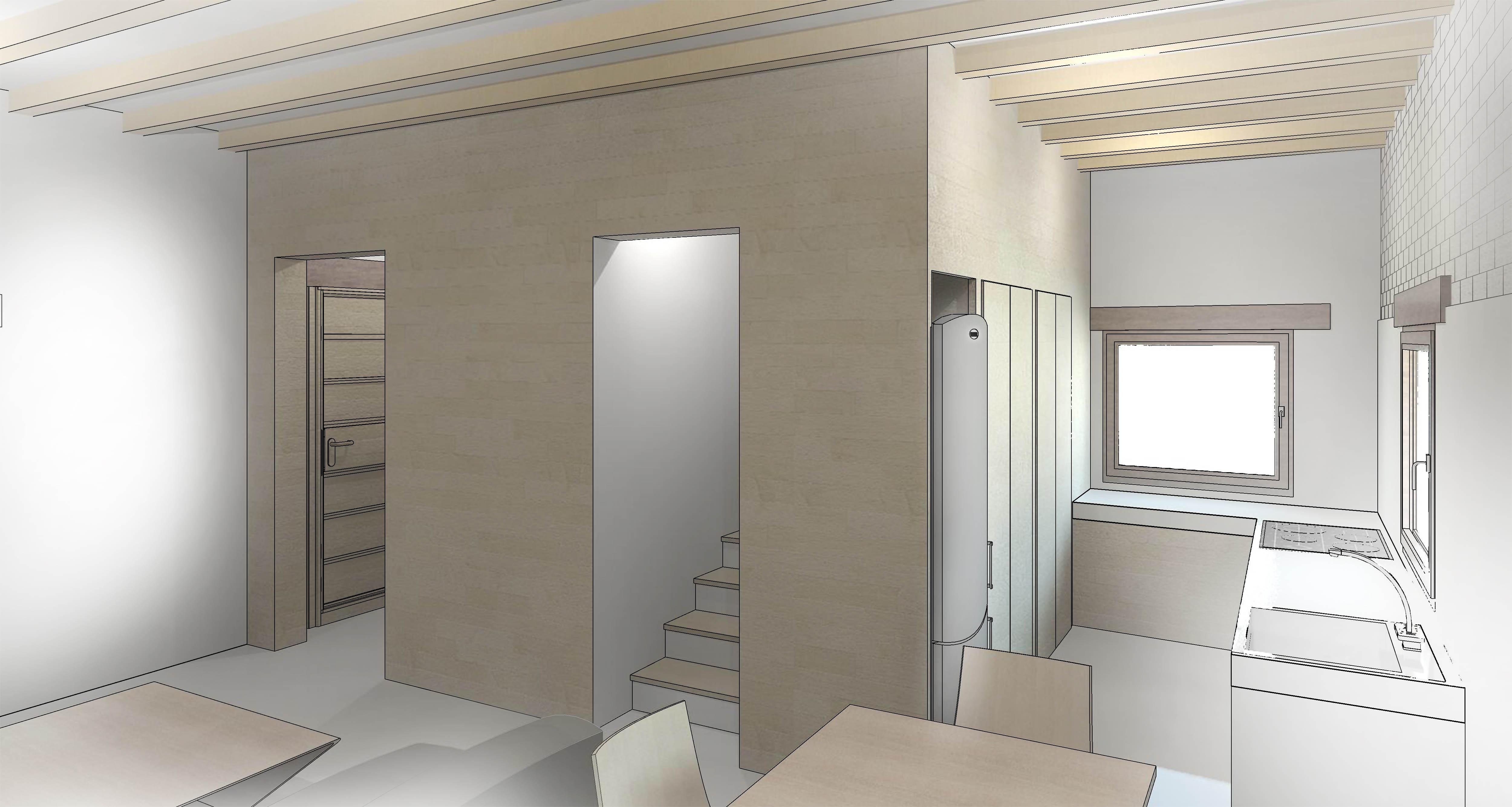 vista interior - cocina y comedor