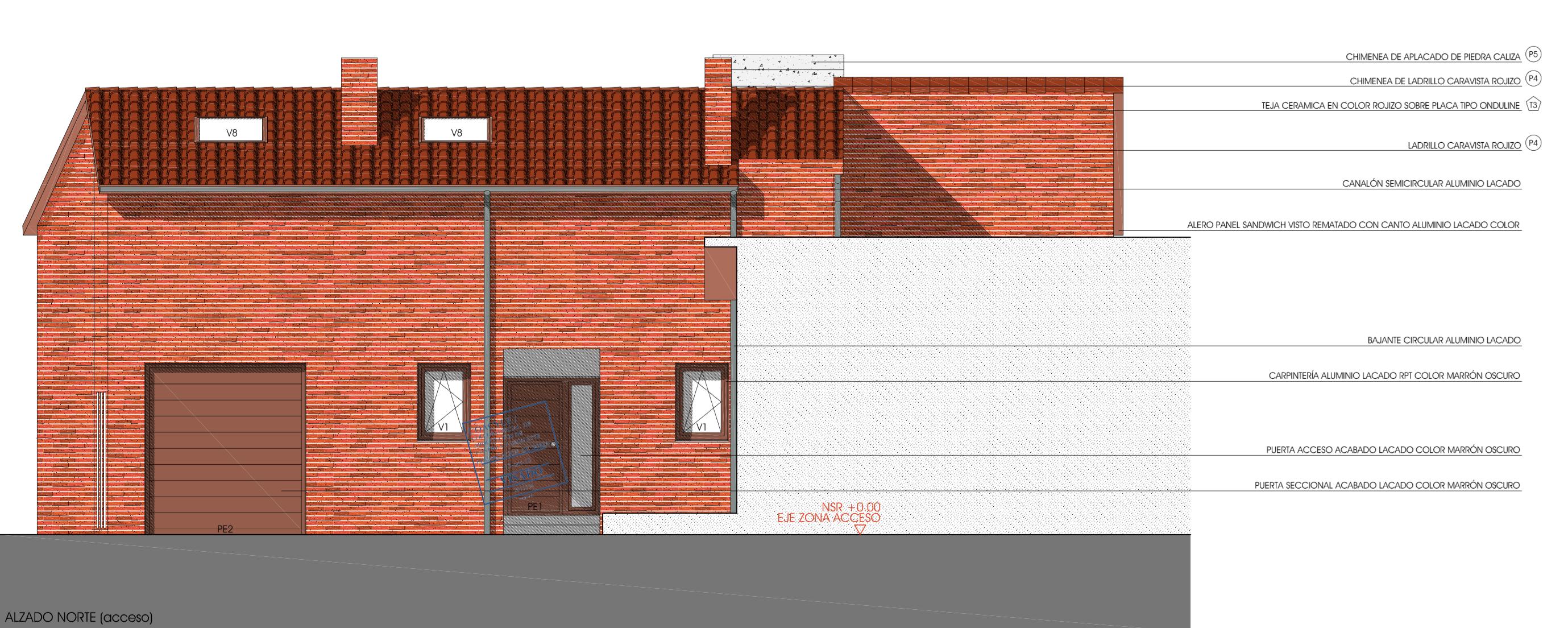 Alzado de la fachada de acceso a la vivienda. Realizado por el estudio de arquitectura Villarreal Arquitectos